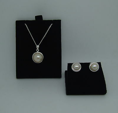 Sterling Silver Freshwater Pearl Earring And Pendant/necklace Set With Chain