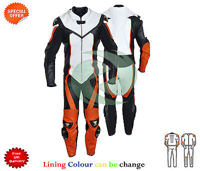 orange one piece motorcycle Leather Racing Motorbike Suit 1 and 2 piece any size