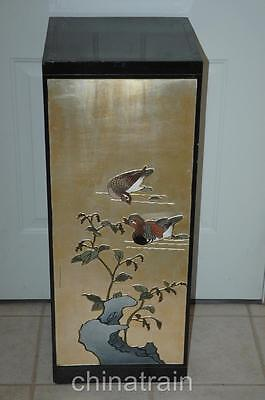 Antique Vintage Oriental Style Vase Pedestal Stand Raised Design Ducks 14.5x36""
