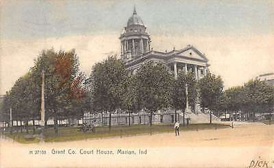 Marion Indiana Court House Street View Antique Postcard K31320