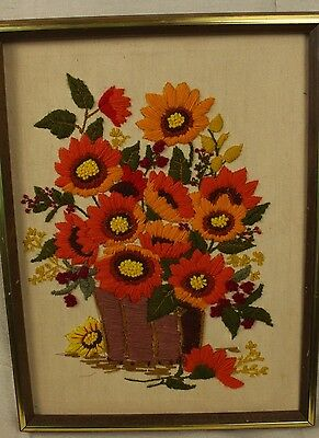 Completed Vintage Crewel Embroidery Wildwood Bouquet Orange Sunflowers Framed