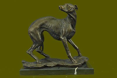 Vintage Classic Handcrafted Greyhound Dog Lover Bronze Marble Statue Sculpture