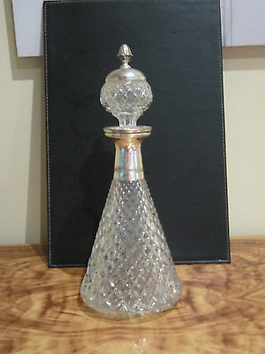 Wonderful Vintage Retro Cut Glass & Silver Plate Decanter