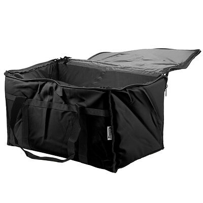 "23"" x 13"" x 15"" Black Insulated Nylon Food Delivery Bag / Pan Carrier"