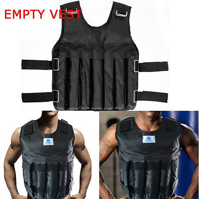 44LBS/20KG Adjustable Workout Weight Weighted Vest Exercise Train Fitness Jacket