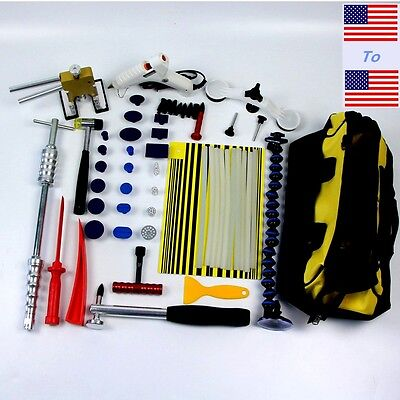 56PC PDR Dent Lifter Kit Glue Puller Paintless Dent Repair Tool Bag Hail Removal