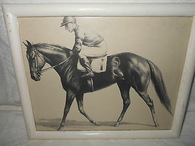 Thoroughbred Race Horse & Jockey Print  In Frame Vintage  11 X 9 X 3/4 Inches