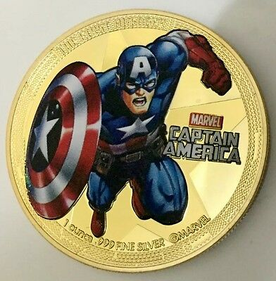 Captain America Finished in 24k gold Coloured Coin Collectable Clearance Sale