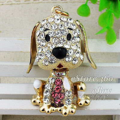 Cute Crystal Dog Keychain Keyring Rhinestone Key chain ring Bag Charm Pendant C