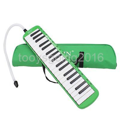 Green 37 Key Melodica Wind Piano Harmonica With Bag & Blow Tube Mouthpiece