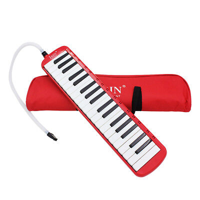 Red 37 Key Melodica Wind Piano Harmonica With Bag & Blow Tube Mouthpiece