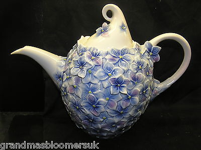 Rare Franz Porcelain Collection Hydrangea Teapot Fz02278 Floral Bouquet New Boxd