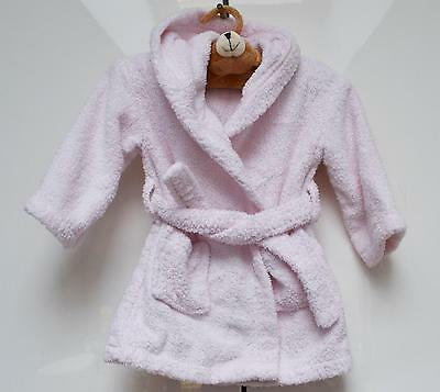 The Little White Company Bathrobe Dressing Gown Hooded Pink 12-18 Months