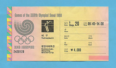 Orig.Ticket   Olympic Games SEOUL 1988  -  VOLLEYBALL // 20.09.  !! VERY RARE