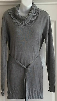 New~Jojo Maman Bebe~Maternity Long-Line Jumper Top L Grey Marl Knitted With Belt