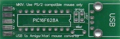 MKIV Amiga/Atari USB mouse adapter converter with mode switch jumpers PCB DIY