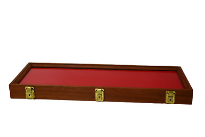 Wood Display Case  9 x 25 x 2  Cherry Wood with keyed lock