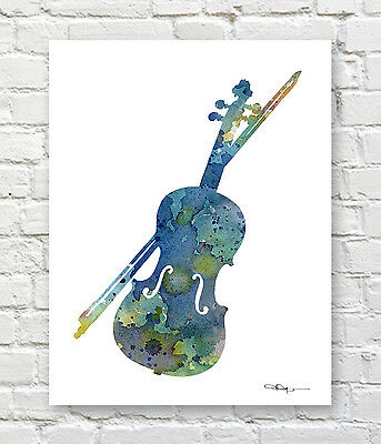 Violin Abstract Watercolor Painting Art Print By Artist DJ Rogers