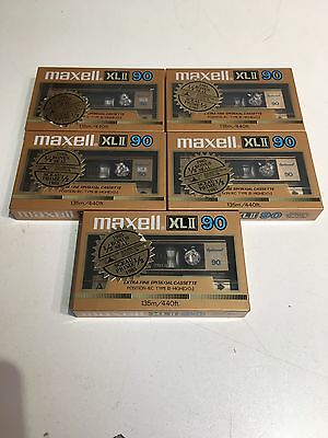 Maxell XL Type II 90min Lot Of 5 Vintage New Sealed Tapes