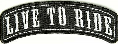 Live To Ride Rocker Embroidered Iron Sew On Cloth Biker Patch