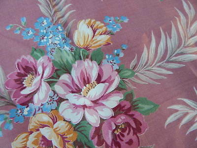 Vintage c1940s Pink Fabric w Fronds & Flowers 10 Unused YARDS