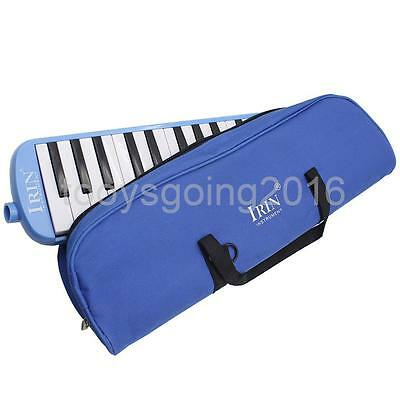 Blue 32 Key Melodica Wind Piano Harmonica With Bag & Blow Tube Mouthpiece