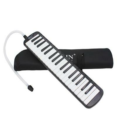 Black 37 Key Melodica Wind Piano Harmonica With Bag & Blow Tube Mouthpiece