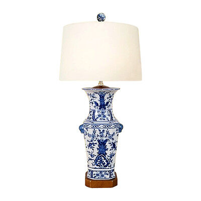 Chinese Blue and White Porcelain Vase Chinoiserie Floral Motif Table Lamp 26.5""