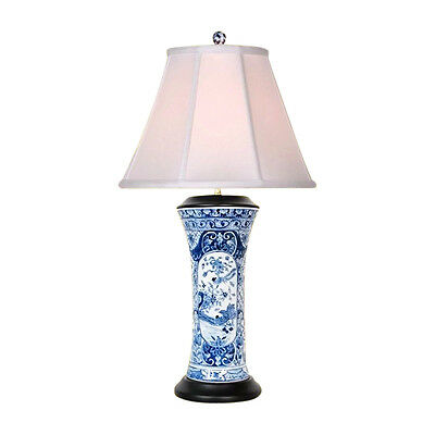 Chinese Blue and White Porcelain Vase Landscape Bird Table Lamp 27""