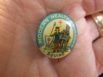"""#21 of 24, VERY OLD VTG ANTIQUE CELLULOID BUTTON """"MODERN HEALTH CRUSADER"""" SQUIRE"""