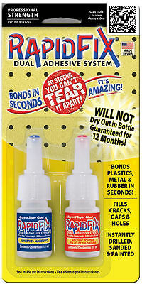 NEW Rapid Fix Dual System Adhesive and Welding Powder 2 x 10ML