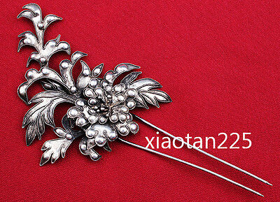 China's Ancient costume Handmade Miao Silver filigree Hairpin Headdress W2285
