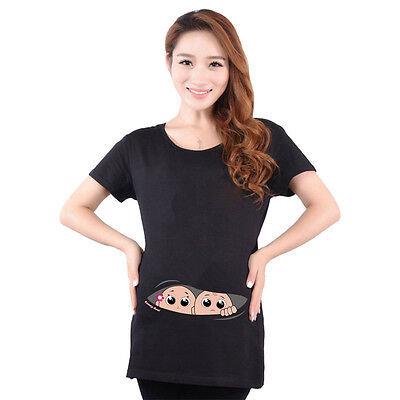 Maternity T Shirts Casual Pregnancy Maternity Clothes  Twins Baby Peeking Out