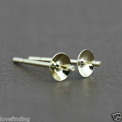 Genuine 9CT Solid Yellow Gold Pearl Cap Earrings - 4mm