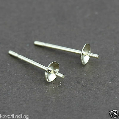 Genuine 9CT Solid Yellow Gold Pearl Cap Earrings - 3mm