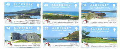 Alderney-25th Anniv of first stamps mnh set of 6