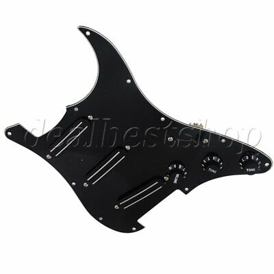 Loaded Prewired Pickguard with Dual Rail Pickups for Electric Guitar Black Knobs