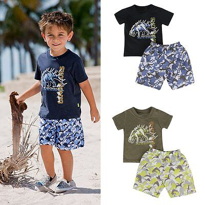 Toddler Kids Baby Boys Summer Beach Outfits Clothes T-shirt Tops+Pants 2PCS Sets