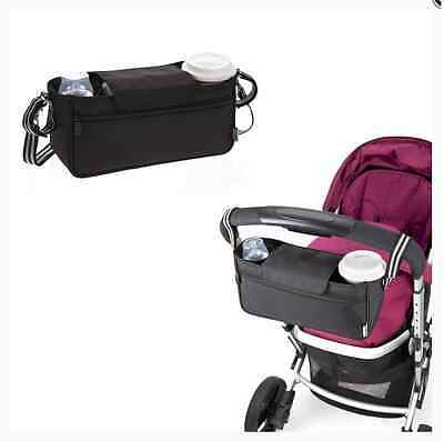 Pram Basket Cool Bag Organiser Black Baby Buggy Stroller Carry Pouch Grab Tray