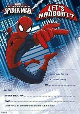 Ultimate Spiderman Pack Of 20 Party Invitations New Marvel