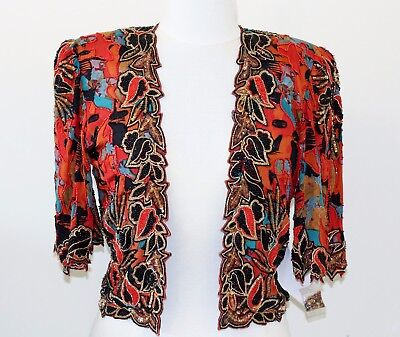 Jasdee Vinatge Bolero Jacket HandWork Bead & Sequins & Hand Print On Silk #5007