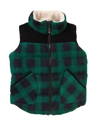 NEW Climate Concepts Green and Black Buffalo Plaid Fleece Vest Size XS