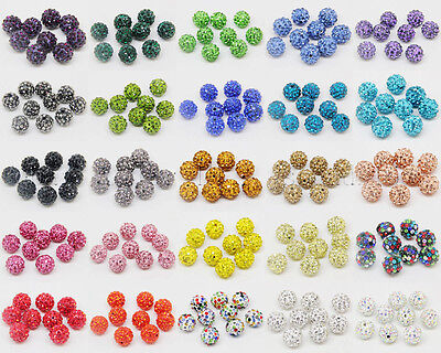 20Pcs Good Quality Czech Crystal Rhinestones Pave Clay Round Disco Ball Beads