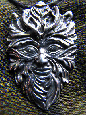 Celtic GREENMAN God Pewter Necklace Wicca Pagan Lord of Growing Things