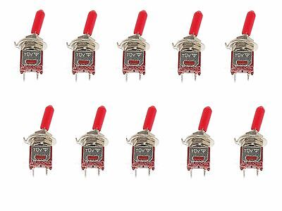 10 SubMiniature SPST Toggle Switch ON/OFF Mini with red handle cover