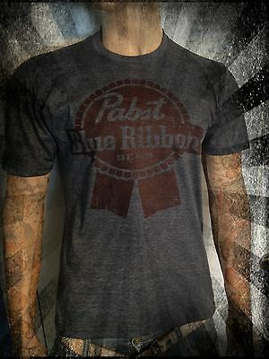 Pabst Blue Ribbon beer shirt Vintage look and feel all sizes hipster emo gray