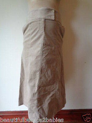 Mothercare Maternity Fine Cord Taupe Skirt Size 10