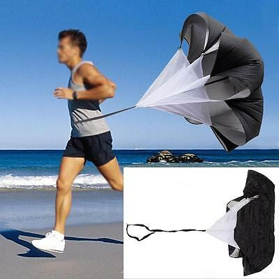 "Black 56"" Speed Resistance Training Parachute Running Chute Football Exercise"