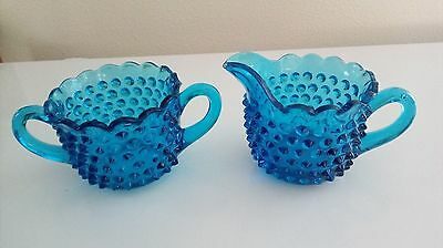 EAPG Turquoise Blue Hobnail Creamer w/Double Handled Sugar and Scalloped Top
