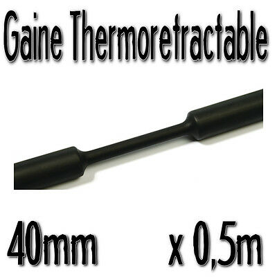 Gaine Thermo Rétractable 2:1 - Diam. 40 mm - Noir - 0,5m